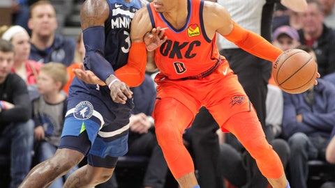 <p>               Oklahoma City Thunder guard Russell Westbrook (0) drives against Minnesota Timberwolves guard Jared Terrell (3) during the first half of a NBA basketball game Sunday, April 7, 2019, in Minneapolis. (AP Photo/Paul Battaglia)             </p>