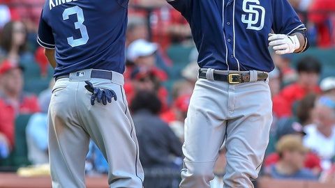 <p>               San Diego Padres' Manny Machado, right, celebrates with Ian Kinsler (3) after hitting a two-run home run during the eighth inning of a baseball game against the St. Louis Cardinals, Saturday, April 6, 2019, in St. Louis. (AP Photo/Scott Kane)             </p>
