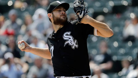 <p>               Chicago White Sox starting pitcher Lucas Giolito throws against the Kansas City Royals during the first inning of a baseball game in Chicago, Wednesday, April 17, 2019. (AP Photo/Nam Y. Huh)             </p>
