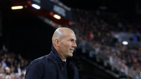 <p>               Real Madrid's coach Zinedine Zidane looks on prior of the Spanish La Liga soccer match between Valencia and Real Madrid at the Mestalla Stadium in Valencia, Spain, Wednesday, April 3, 2019. (AP Photo/Alberto Saiz)             </p>