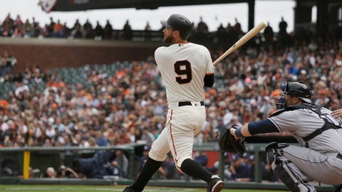 <p>               San Francisco Giants' Brandon Belt (9) hits a two-run home run off Tampa Bay Rays relief pitcher Ryan Yarbrough in the fifth inning of a baseball game Saturday, April 6, 2019, in San Francisco. (AP Photo/Eric Risberg)             </p>