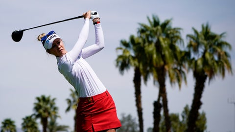 <p>               Nelly Korda hits her tee shot on the 11th hole during the pro-am round of the LPGA Tour ANA Inspiration golf tournament at Mission Hills Country Club Wednesday, April 3, 2019, in Rancho Mirage, Calif. (AP Photo/Chris Carlson)             </p>
