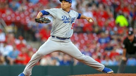 <p>               Los Angeles Dodgers starting pitcher Hyun-Jin Ryu throws during the first inning of a baseball game against the St. Louis Cardinals, Monday, April 8, 2019, in St. Louis. (AP Photo/Scott Kane)             </p>