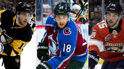 <p>               FILE - From left are file photos showing NHL hockey player Derick Brassard with the Pittsburgh Penguins, on Jan. 28, 2019, with the Colorado Avalanche on March 9, 2019 and with the Florida Panthers on Feb. 5, 2019. Excuse Derick Brassard for having a little difficulty finding his bearings after the veteran center took an unorthodox cross-country route in reaching the NHL playoffs. (AP Photo/Lynne Sladky, File)             </p>