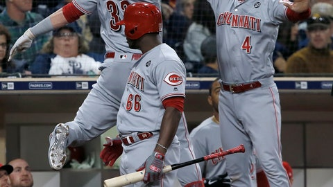 <p>               Cincinnati Reds' Jesse Winker, left, celebrates in a leap with Jose Iglesias, right, after hitting a solo home run as Yasiel Puig, center, watches, during the seventh inning of a baseball game against the San Diego Padres in San Diego, Saturday, April 20, 2019. (AP Photo/Alex Gallardo)             </p>