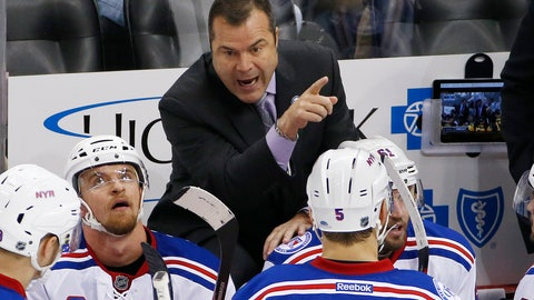 <p>               FILE - In this Nov. 2016, file photo, New York Rangers head coach Alain Vigneault, top, gives instructions in the third period of an NHL hockey game against the Pittsburgh Penguins in Pittsburgh. The Philadelphia Flyers have hired Vigneault as head coach. Vigneault has led the Rangers and Vancouver Canucks to the Stanley Cup final and takes over a Flyers team that missed the playoffs for the second time in three seasons. (AP Photo/Gene J. Puskar, File)             </p>
