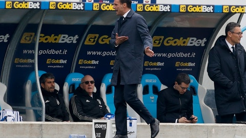 <p>               Juventus coach Massimiliano Allegri reacts during the Serie A soccer match between Spal and Juventus, at the Paolo Mazza stadium in Ferrara, Italy, Saturday, April 13, 2019. (AP Photo/Antonio Calanni)             </p>