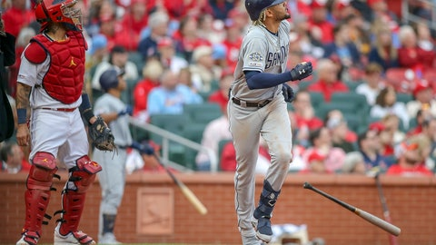 <p>               St. Louis Cardinals catcher Yadier Molina (4) and San Diego Padres' Fernando Tatis Jr. watch Tatis' two-run home run during the seventh inning of a baseball game Friday, April 5, 2019, in St. Louis. (AP Photo/Scott Kane)             </p>