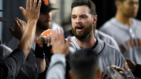 <p>               San Francisco Giants' Brandon Belt celebrates with the dugout after a solo home run during the sixth inning of a baseball game against the Los Angeles Dodgers in Los Angeles, Monday, April 1, 2019. (AP Photo/Kelvin Kuo)             </p>
