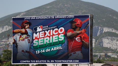 <p>               A billboard advertising the Mexico Series between the Cincinnati Reds and the St. Louis Cardinals stands outside the stadium before the start of their second game in Monterrey, Mexico, Sunday, April 14, 2019. (AP Photo/Rebecca Blackwell)             </p>