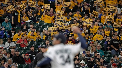 "<p>               Fans in the ""King's Court"" cheering section hold signs as Seattle Mariners starting pitcher Felix Hernandez throws during the fifth inning of a baseball game against the Los Angeles Angels, Monday, April 1, 2019, in Seattle. (AP Photo/Ted S. Warren)             </p>"