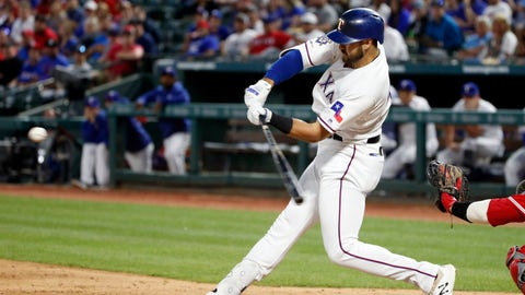 <p>               Texas Rangers' Joey Gallo hits a solo home run against the Los Angeles Angels during the third inning of a baseball game Monday, April 15, 2019, in Arlington, Texas. (AP Photo/Michael Ainsworth)             </p>