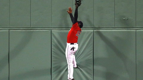 <p>               Boston Red Sox's Jackie Bradley Jr. makes the catch a fly-out by Baltimore Orioles' Joey Rickard during the eighth inning of a baseball game in Boston, Friday, April, 12, 2019. (AP Photo/Michael Dwyer)             </p>