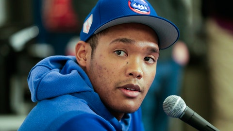 <p>               FILE - In this Friday, Feb. 15, 2019, file photo, Chicago Cubs shortstop Addison Russell speaks at a news conference after a spring training baseball workout in Mesa, Ariz. Russell is joining Triple-A Iowa to prepare for his return from a 40-game suspension for violating Major League Baseball's domestic violence policy. Russell is expected to play when Iowa begins a nine-game homestand Wednesday, April 24 against Nashville. (AP Photo/Morry Gash, File)             </p>