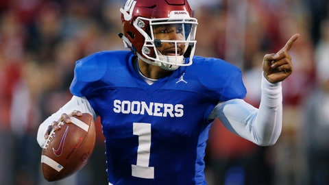 <p>               Oklahoma quarterback Jalen Hurts gestures during the NCAA college football team's spring game in Norman, Okla., Friday, April 12, 2019. (AP Photo/Sue Ogrocki)             </p>