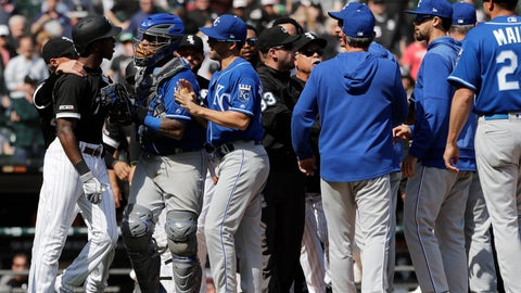 <p>               Chicago White Sox's Tim Anderson, left, talks to Kansas City Royals catcher Martin Maldonado after being hit by a pitch during the sixth inning of a baseball game in Chicago, Wednesday, April 17, 2019. (AP Photo/Nam Y. Huh)             </p>