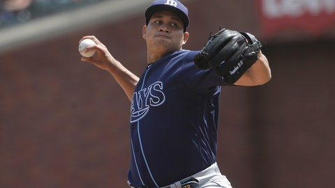 <p>               Tampa Bay Rays pitcher Yonny Chirinos throws against the San Francisco Giants during the first inning of a baseball game in San Francisco, Sunday, April 7, 2019. (AP Photo/Jeff Chiu)             </p>