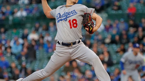 <p>               Los Angeles Dodgers' Kenta Maeda pitches against the Chicago Cubs during the first inning of a baseball game, Tuesday, April 23, 2019, in Chicago. (AP Photo/Jim Young)             </p>