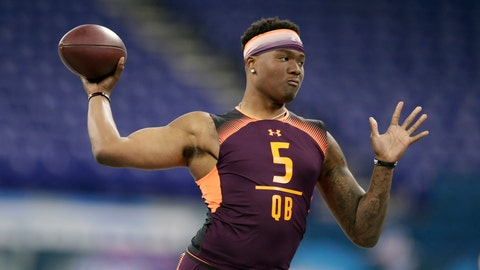 <p>               FILE - In this March 2, 2019, file photo, Ohio State quarterback Dwayne Haskins runs a drill at the NFL football scouting combine, in Indianapolis. Haskins is a possible pick in the 2019 NFL Draft. (AP Photo/Michael Conroy, File)             </p>