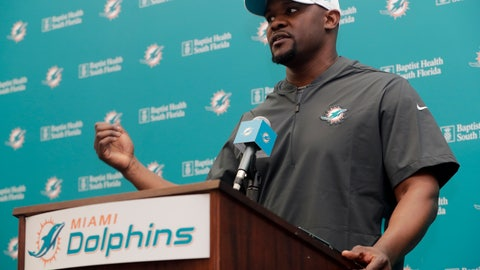<p>               Miami Dolphins head coach Brian Flores speaks at a news conference during voluntary minicamp at the Miami Dolphins NFL football training facility, Tuesday, April 16, 2019, in Davie, Fla. (AP Photo/Lynne Sladky)             </p>
