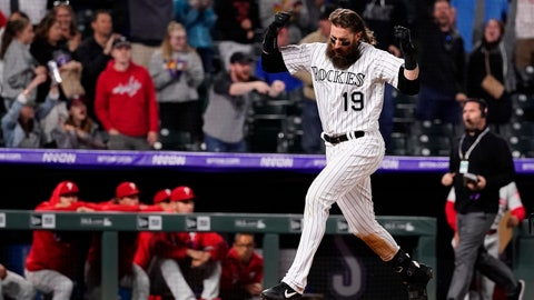 <p>               Colorado Rockies' Charlie Blackmon celebrates a walk-off home run against the Philadelphia Phillies during the 12th inning of a baseball game Friday, April 19, 2019, in Denver. (AP Photo/Jack Dempsey)             </p>