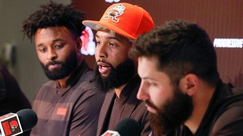 <p>               Cleveland Browns' Odell Beckham, center, answers questions during a news conference as Jarvis Landry, left, and Baker Mayfield look on Monday, April 1, 2019, in Berea, Ohio. (AP Photo/Ron Schwane)             </p>