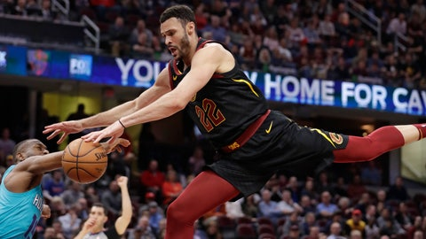 <p>               Cleveland Cavaliers' Larry Nance Jr., right, drives to the basket against Charlotte Hornets' Kemba Walker in the first half of an NBA basketball game, Tuesday, April 9, 2019, in Cleveland. Walker was called for a foul. (AP Photo/Tony Dejak)             </p>
