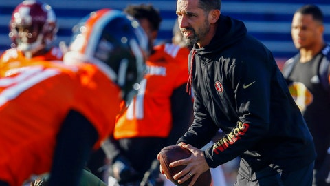 <p>               FILE - In this Thursday, Jan. 24, 2019, file photo, South head coach Kyle Shanahan of the San Francisco 49ers takes a snap during practice for the Senior Bowl college football game, in Mobile, Ala. Shanahan knows his 49ers NFL football team can go in one of two directions with the No. 2 overall pick in the draft. Take the top available pass rusher to help upgrade a defense that struggled to create takeaways a year earlier or move down in the draft and accumulate additional draft picks. (AP Photo/Butch Dill, File)             </p>