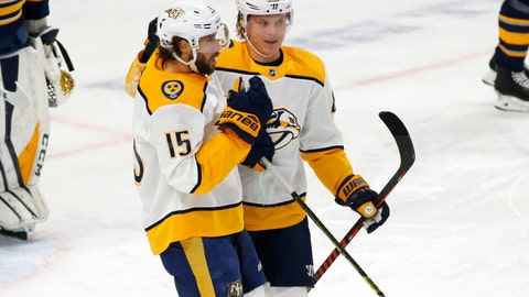 <p>               Nashville Predators forwards Craig Smith (15) and Mikael Granlund (64) celebrate a goal during the first period of an NHL hockey game against the Buffalo Sabres Tuesday, April 2, 2019, in Buffalo, N.Y. (AP Photo/Jeffrey T. Barnes)             </p>
