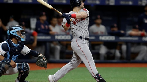 <p>               Boston Red Sox's Andrew Benintendi follows the flight of his grand slam off Tampa Bay Rays starting pitcher Charlie Morton during the second inning of a baseball game Saturday, April 20, 2019, in St. Petersburg, Fla. Catching for the Rays is Michael Perez. (AP Photo/Chris O'Meara)             </p>