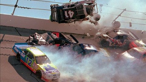<p>               FILE - In this April 28, 1996, file photo, NASCAR driver Ricky Craven (41) flips into the catchfence in turn one of the Talladega Superspeedway during the Winston Select 500, in Talladega, Ala. Also visible are Derrike Cope (12), Geoff Bodine (7), Brett Bodine (11), Jeff Gordon (24), and Jeff Purvis (44). The ever-present air of unpredictability at Talladega Superspeedway is even more pronounced than usual this weekend, with NASCAR having replaced the horsepower-sapping restrictor plates. (AP Photo/Ashley Fleming, File)             </p>