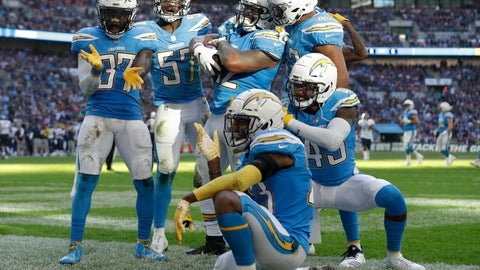 <p>               FILE - In this Sunday, Oct. 21, 2018, file photo, Los Angeles Chargers players celebrate after making a turnover during the first half of an NFL football game against the Tennessee Titans at Wembley stadium in London. On Tuesday, April 16, 2019, the Chargers announced they will wear their historic powder-blue jerseys as their primary home uniforms in the upcoming season. (AP Photo/Matt Dunham, File)             </p>