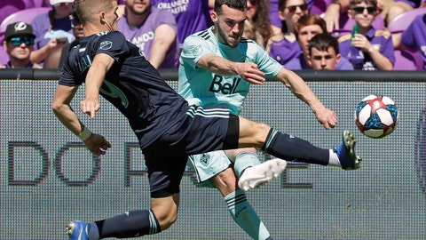 <p>               Orlando City's Chris Mueller, left, clears the ball away from Vancouver Whitecaps' Russell Teibert during the first half of an MLS soccer match, Saturday, April 20, 2019, in Orlando, Fla. (AP Photo/John Raoux)             </p>