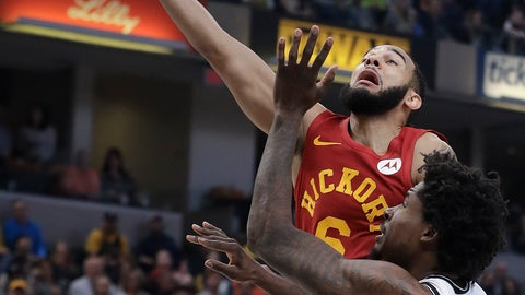 <p>               Indiana Pacers' Cory Joseph (6) shoots against Brooklyn Nets' Ed Davis (17) during the first half of an NBA basketball game Sunday, April 7, 2019, in Indianapolis. (AP Photo/Darron Cummings)             </p>