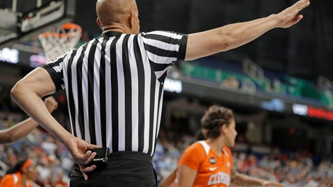 <p>               In this photo taken March 8, 2019, a referee prepares to start a play using a Precision Time device during the first half of an Atlantic Coast Conference women's tournament basketball game in Greensboro, N.C. The Precision Time system created more than two decades ago by former referee Mike Costabile currently is used at nearly every level of the sport, including the NBA and college basketball's NCAA Tournament. Costabile estimates the ability to stop the clock automatically on a referee's whistle can save roughly 90 seconds formerly lost to reaction time when timekeepers manually stopped the clock. (AP Photo/Chuck Burton)             </p>