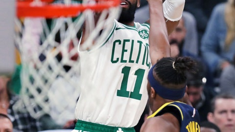 <p>               Boston Celtics guard Kyrie Irving (11) shoots over Indiana Pacers center Myles Turner (33) during the first quarter of Game 2 of an NBA basketball first-round playoff series, Wednesday, April 17, 2019, in Boston. (AP Photo/Charles Krupa)             </p>