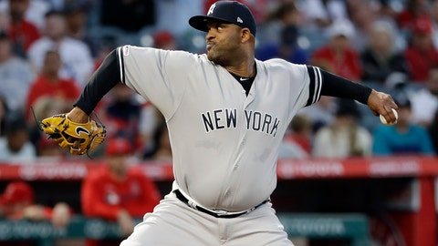 <p>               New York Yankees starting pitcher CC Sabathia throws to the Los Angeles Angels during the first inning of a baseball game Wednesday, April 24, 2019, in Anaheim, Calif. (AP Photo/Marcio Jose Sanchez)             </p>