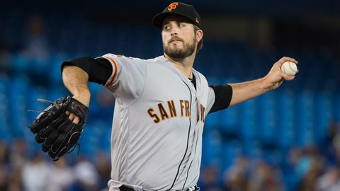 <p>               San Francisco Giants starting pitcher Drew Pomeranz (37) works against the Toronto Blue Jays during first inning baseball action in Toronto, on Wednesday, April 24, 2019. (Nathan Denette/The Canadian Press via AP)             </p>