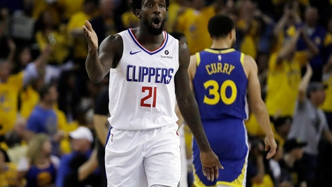 <p>               Los Angeles Clippers' Patrick Beverley (21) reacts to a call by referees during the second half in Game 5 of a first-round NBA basketball playoff series against the Golden State Warriors, Wednesday, April 24, 2019, in Oakland, Calif. (AP Photo/Ben Margot)             </p>