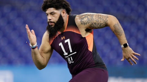 <p>               FILE - In this March 1, 2019, file photo, Oklahoma offensive lineman Cody Ford runs a drill at the NFL football scouting combine in Indianapolis. Ford is a possible pick in the 2019 NFL Draft.(AP Photo/Michael Conroy, File)             </p>