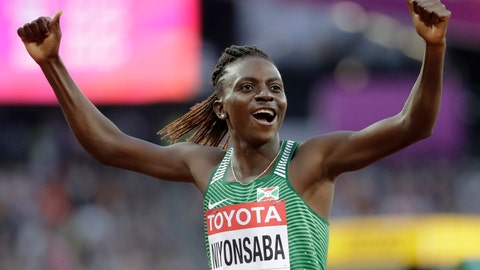 <p>               FILE - In this file photo dated Friday, Aug. 11, 2017, Burundi's Francine Niyonsaba reacts after winning a Women's 800m semifinal during the World Athletics Championships in London.  Olympic and world championships medalist in the 800 meters, Niyonsaba, acknowledged in an interview with the Olympic Channel Wednesday April 17, 2019, that she has the hyperandrogenism condition that gives her high levels of naturally occurring testosterone.  (AP Photo/David J. Phillip, FILE)             </p>