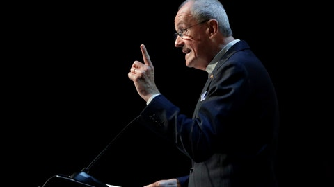 <p>               New Jersey Gov. Phil Murphy addresses an audience at the Betting On Sports America conference, Wednesday, April 24, 2019, in Secaucus, N.J.   Murphy predicted New Jersey's fast growing sports betting market could surpass that of Nevada by next year. (AP Photo/Julio Cortez)             </p>