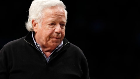 <p>               FILE - In this April 10, 2019, file photo, New England Patriots owner Robert Kraft leaves his seat during an NBA basketball game between the Brooklyn Nets and the Miami Heat, in New York. Prosecutors intend to release undercover video of Robert Kraft and others allegedly receiving sex acts at a Florida massage parlor, but that won't be soon or perhaps ever. The Palm Beach County State Attorney's Office filed a notice Wednesday, April 17, 2019, saying it believes the videos are public records under Florida law and it plans to release pixilated versions. Spokesman Mike Edmondson said the release is not imminent, as the office is processing numerous public records in the case. Kraft's attorneys filed an emergency motion Wednesday to block the release. (AP Photo/Kathy Willens, File)             </p>