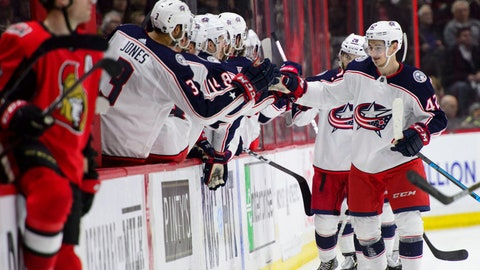 <p>               Columbus Blue Jackets center Alexandre Texier (42) celebrates a goal with the bench during the second period of the team's NHL hockey game against the Ottawa Senators on Saturday, April 6, 2019, in Ottawa, Ontario. (Sean Kilpatrick/The Canadian Press via AP)             </p>