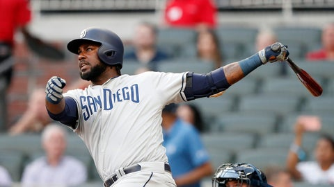 <p>               San Diego Padres' Franmil Reyes (32) follows through on a solo home run in the first inning of a baseball game against the Atlanta Braves Tuesday, April 30, 2019, in Atlanta. (AP Photo/John Bazemore)             </p>