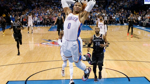 <p>               Oklahoma City Thunder guard Russell Westbrook (0) goes up for a dunk in front of Detroit Pistons guard Wayne Ellington (20) during the first half of an NBA basketball game Friday, April 5, 2019, in Oklahoma City. (AP Photo/Sue Ogrocki)             </p>