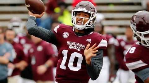 <p>               Mississippi State quarterback Keytaon Thompson (10) throws a pass during the team's spring NCAA college football game in Starkville, Miss., Saturday, April 13, 2019. (AP Photo/Rogelio V. Solis)             </p>