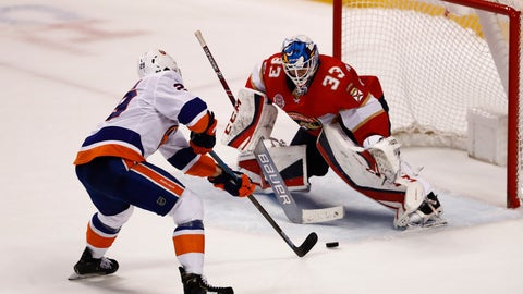 <p>               New York Islanders center Brock Nelson (29) shoots and scores against the Florida Panthers goaltender Samuel Montembeault (33) during a shootout of an NHL hockey game on Thursday, April 4, 2019, in Sunrise, Fla. (AP Photo/Brynn Anderson)             </p>
