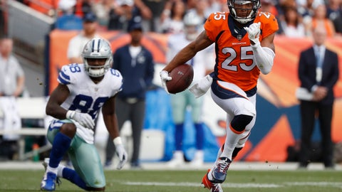 <p>               File-This Sept. 17. 2017, file photo shows Denver Broncos cornerback Chris Harris (25) intercepting a pass intended for Dallas Cowboys wide receiver Dez Bryant (88) during the second half of an NFL football game in Denver. Harris skipped the start of the Denver Broncos offseason program Tuesday, April 2, 2019, as he angles for a new contract. The Broncos became the fourth team to start their offseason program, which at this point is voluntary. One of the NFL's most versatile defensive backs, Harris is due $7.8 million next season in the final year of his team friendly, five-year, $42.5 million contract that he signed in 2015. (AP Photo/Jack Dempsey, File)             </p>