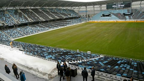 <p>               In this March 18, 2019, photo, the pitch and stadium of the Minnesota United FC Loons is shown in St. Paul, Minn. The MLS soccer team's home opener is April 13 against New York City FC in the new privately-funded Allianz Field stadium in St. Paul, Minn. (AP Photo/Jim Mone)             </p>